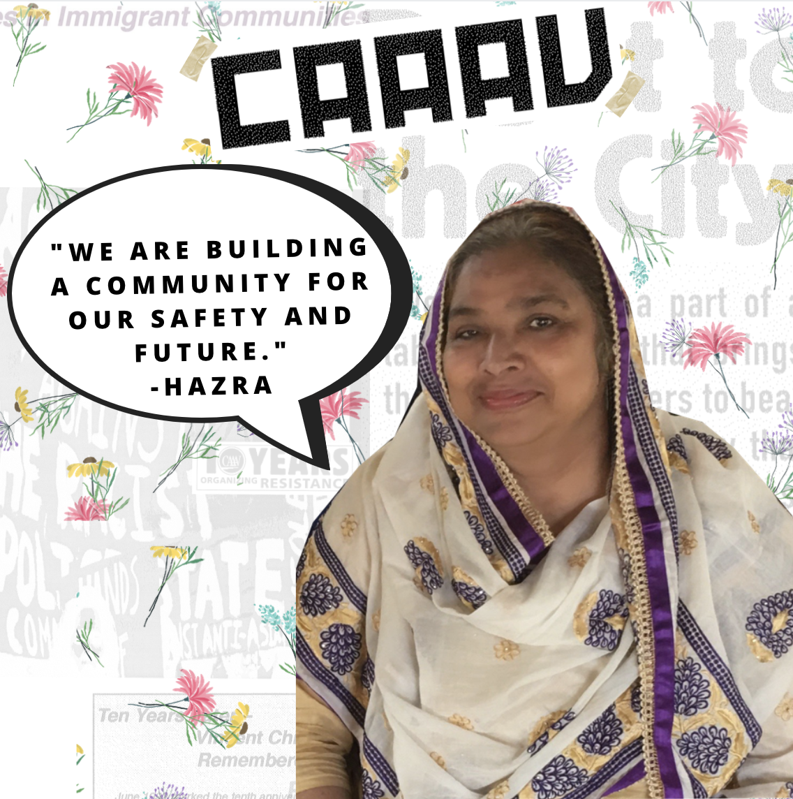 Hazra standing against a collage background, next to her speech bubble. she is smiling